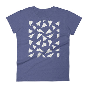 Paper Planes Pattern | Women's Short-Sleeve T-Shirt-t-shirts-Heather Blue-S-Eggenland