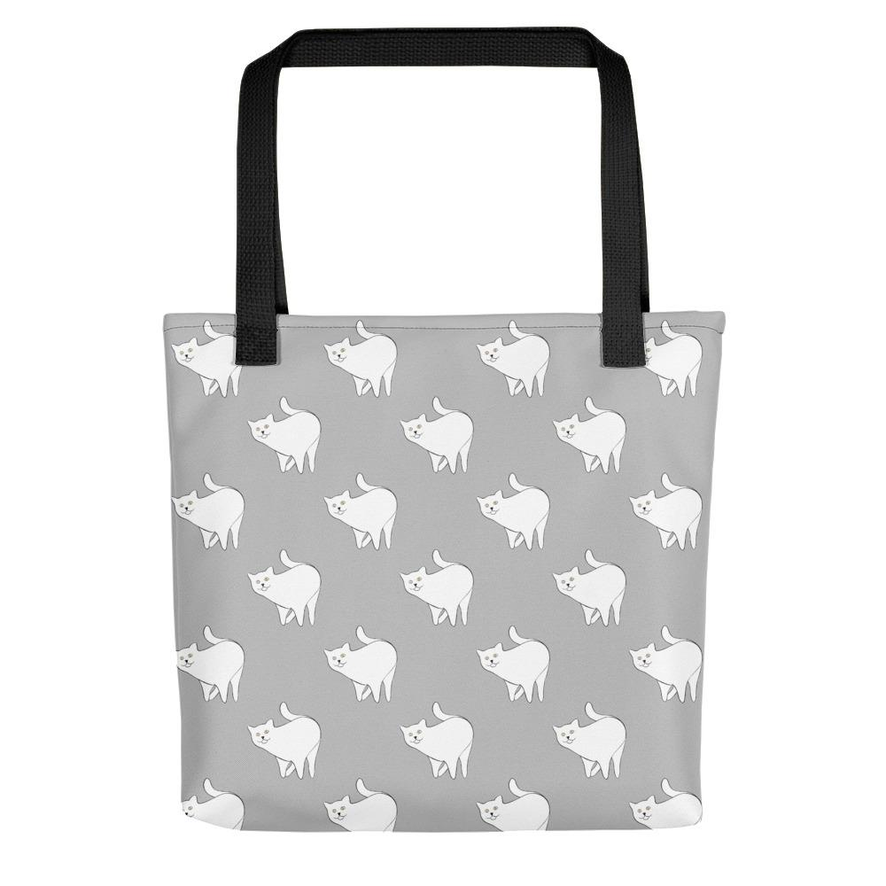 Cute Cat Pattern | Light Grey and White | Tote Bag-tote bags-Black-Eggenland
