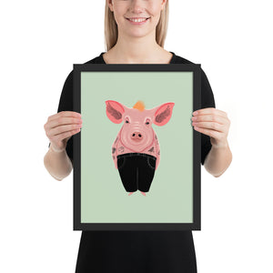 Cool Pig With Tattoos | Illustration | Green | Framed Posters-framed posters-Black-12×16-Eggenland