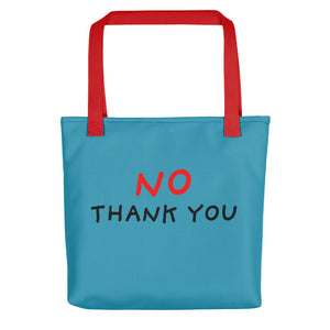 No Thank You | Blue | Tote Bag-tote bags-Red-Eggenland