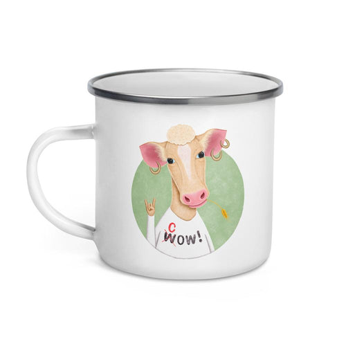 Wow Cow | Illustration | Enamel Mug-enamel mugs-Eggenland