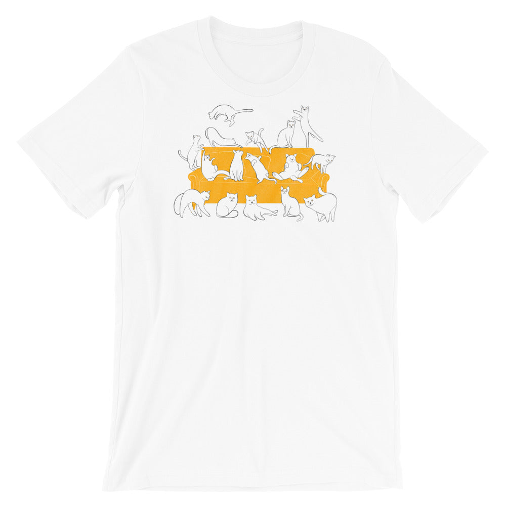 Cats Party | Short-Sleeve Unisex T-Shirt-t-shirts-White-S-Eggenland
