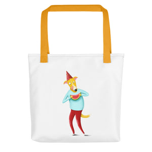 Dog with Watermelon | White | Tote Bag-tote bags-Yellow-Eggenland