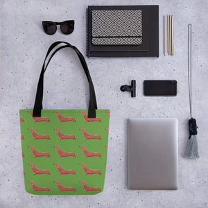 Dachshund Dog Pattern | Light Green | Tote Bag-tote bags-Eggenland