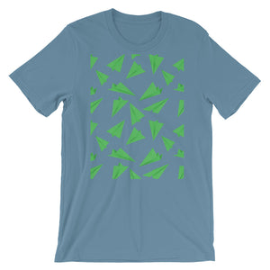 Paper Planes Pattern | Green | Short-Sleeve Unisex T-Shirt-t-shirts-Steel Blue-S-Eggenland