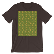 Load image into Gallery viewer, Flying Birds Pattern | Green | Short-Sleeve Unisex T-Shirt-t-shirts-Brown-S-Eggenland