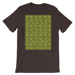 Flying Birds Pattern | Green | Short-Sleeve Unisex T-Shirt-t-shirts-Brown-S-Eggenland