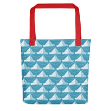 Load image into Gallery viewer, Newspaper Hats Pattern | Blue | Tote Bag-tote bags-Red-Eggenland