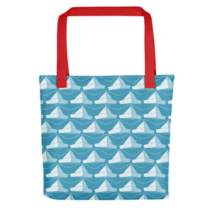 Newspaper Hats Pattern | Blue | Tote Bag-tote bags-Red-Eggenland