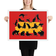 Load image into Gallery viewer, Black Cats Party | Red | Illustration | Framed Poster-framed posters-White-18×24-Eggenland
