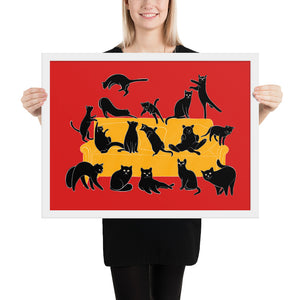 Black Cats Party | Red | Illustration | Framed Poster-framed posters-White-18×24-Eggenland