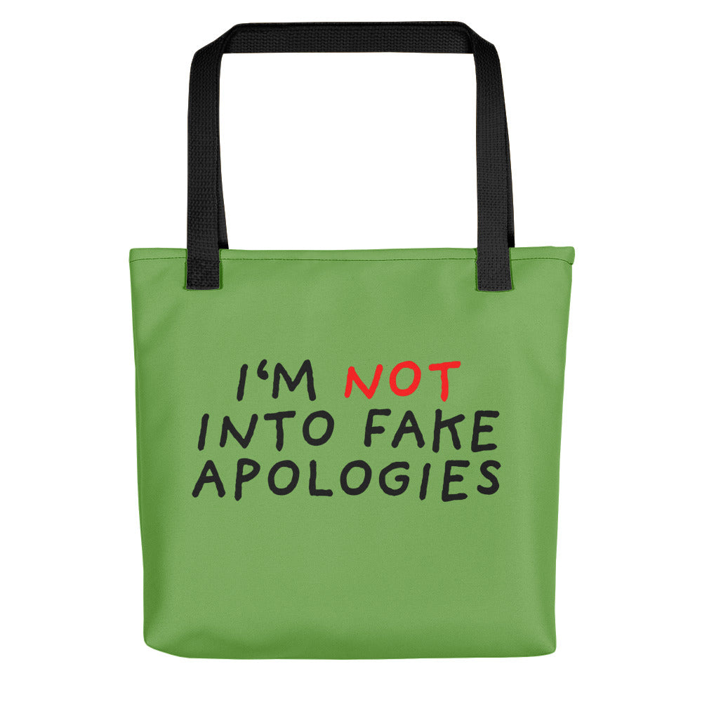 Fake Apologies | Green | Tote Bag-tote bags-Black-Eggenland