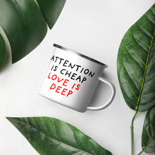 Load image into Gallery viewer, Attention Is Cheap | Enamel Mug-enamel mugs-Eggenland