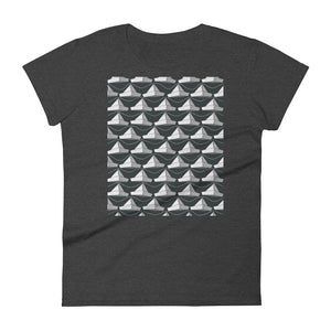 Paper Hats Pattern | Black and White | Women's Short-Sleeve T-Shirt-t-shirts-Heather Dark Grey-S-Eggenland
