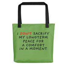 Load image into Gallery viewer, No Sacrifice | Green | Tote Bag-tote bags-Black-Eggenland
