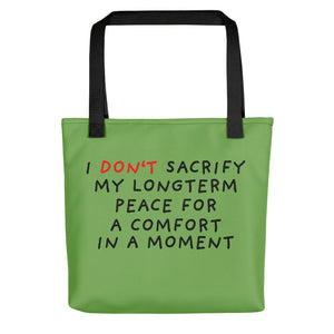 No Sacrifice | Green | Tote Bag-tote bags-Black-Eggenland