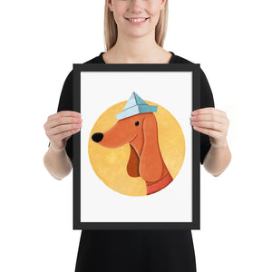 Dog With Newspaper Hat | Illustration | Framed Poster-framed posters-Black-12×16-Eggenland