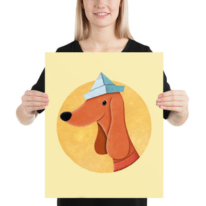 Dog with Newspaper Hat | Yellow | Poster-posters-16×20-Eggenland