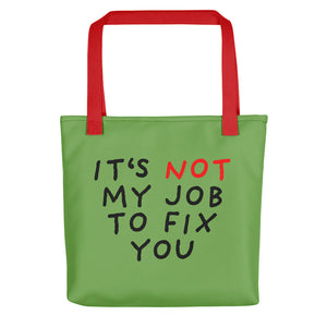 Not My Job | Green | Tote Bag-tote bags-Red-Eggenland