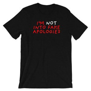 Fake Apologies | Short-Sleeve Unisex T-Shirt-t-shirts-Black Heather-S-Eggenland