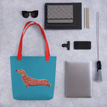 Load image into Gallery viewer, Cute Dachshund Dog | Blue | Tote Bag-tote bags-Eggenland