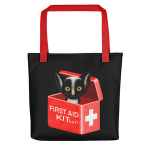 First Aid Kitten | Black | Tote Bag-tote bags-Red-Eggenland