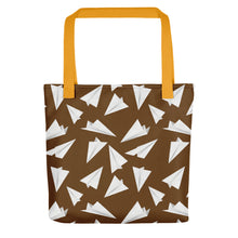 Load image into Gallery viewer, Paper Planes Pattern | Brown and White | Tote Bag-tote bags-Yellow-Eggenland