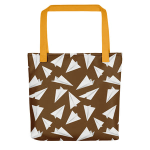 Paper Planes Pattern | Brown and White | Tote Bag-tote bags-Yellow-Eggenland