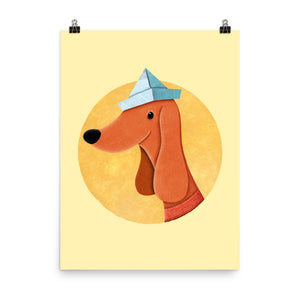 Dog with Newspaper Hat | Yellow | Poster-posters-18×24-Eggenland