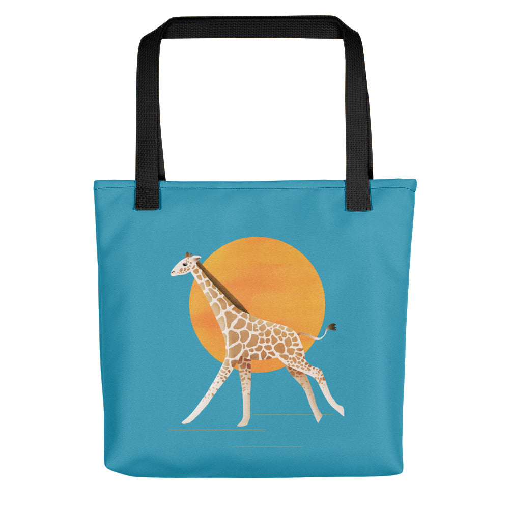 Giraffe and Sun | Blue | Tote Bag-tote bags-Black-Eggenland