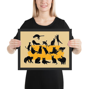 Black Cats Party | Cream | Illustration | Framed Poster-framed posters-Black-12×16-Eggenland