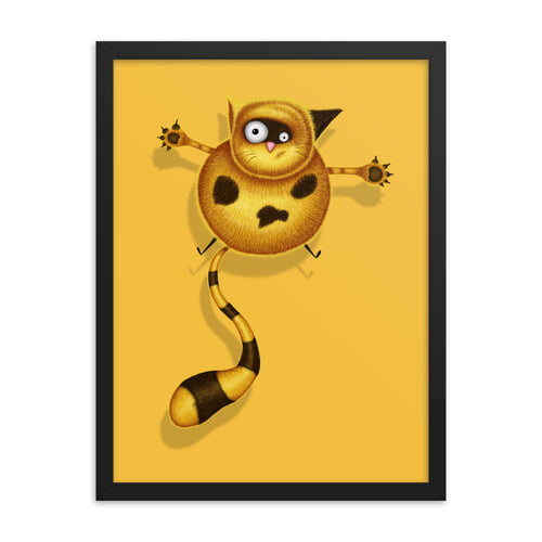 Fat Cat | Illustration | Yellow | Framed Posters-framed posters-Eggenland
