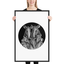 Load image into Gallery viewer, Tapir Family | Illustration | Framed Poster-framed posters-Black-24×36-Eggenland