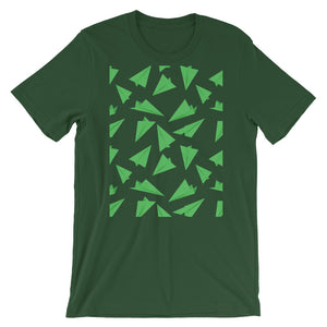 Paper Planes Pattern | Green | Short-Sleeve Unisex T-Shirt-t-shirts-Forest-S-Eggenland