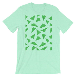 Paper Planes Pattern | Green | Short-Sleeve Unisex T-Shirt-t-shirts-Heather Mint-S-Eggenland