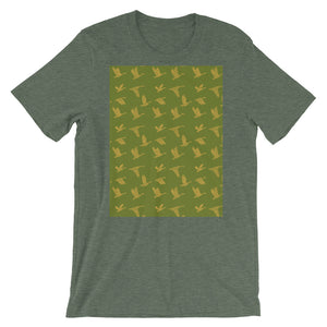 Flying Birds Pattern | Green | Short-Sleeve Unisex T-Shirt-t-shirts-Heather Forest-S-Eggenland