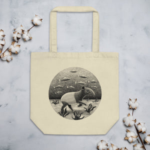 Tapirs Can Walk Underwater | Black and White Illustration | Eco Tote Bag-tote bags-Eggenland