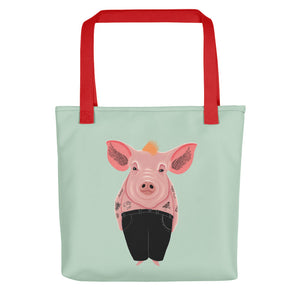Cool Pig with Tattoos | Light Green | Tote Bag-tote bags-Red-Eggenland