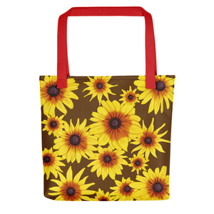 Blooming Flowers | Brown | Tote Bag-tote bags-Red-Eggenland