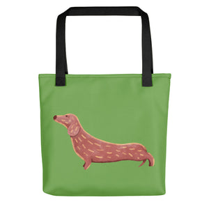 Cute Dachshund Dog | Light Green | Tote Bag-tote bags-Black-Eggenland