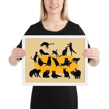 Load image into Gallery viewer, Black Cats Party | Cream | Illustration | Framed Poster-framed posters-White-12×16-Eggenland
