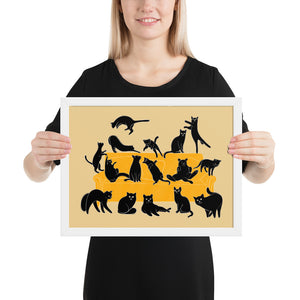 Black Cats Party | Cream | Illustration | Framed Poster-framed posters-White-12×16-Eggenland