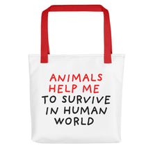Load image into Gallery viewer, Animals Help Me | Tote Bag-tote bags-Red-Eggenland