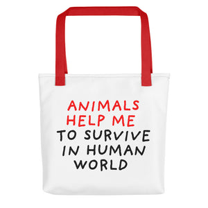Animals Help Me | Tote Bag-tote bags-Red-Eggenland