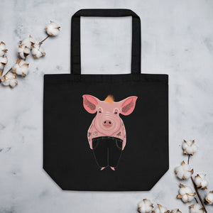 Cool Pig With Tattoos | Eco Tote Bag-tote bags-Black-Eggenland