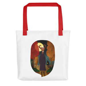 Deer Creature at Night | Tote Bag-tote bags-Red-Eggenland