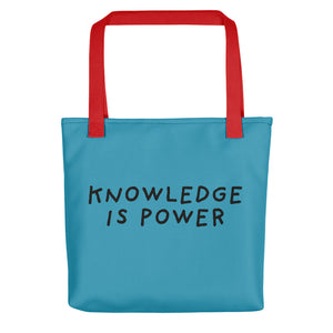 Knowledge Is Power | Blue | Tote bag-tote bags-Red-Eggenland