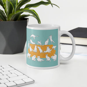 Cats Party | Turquoise | Mug-mugs-Eggenland