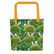 Load image into Gallery viewer, Rabbits and Carrots | Green | Tote Bag-tote bags-Yellow-Eggenland