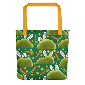 Rabbits and Carrots | Green | Tote Bag-tote bags-Yellow-Eggenland